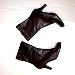 Tommy Hilfiger Brown Leather Heeled Booties